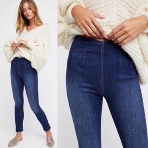 Free People High Waist Pull-On Elastic Waist Jeans